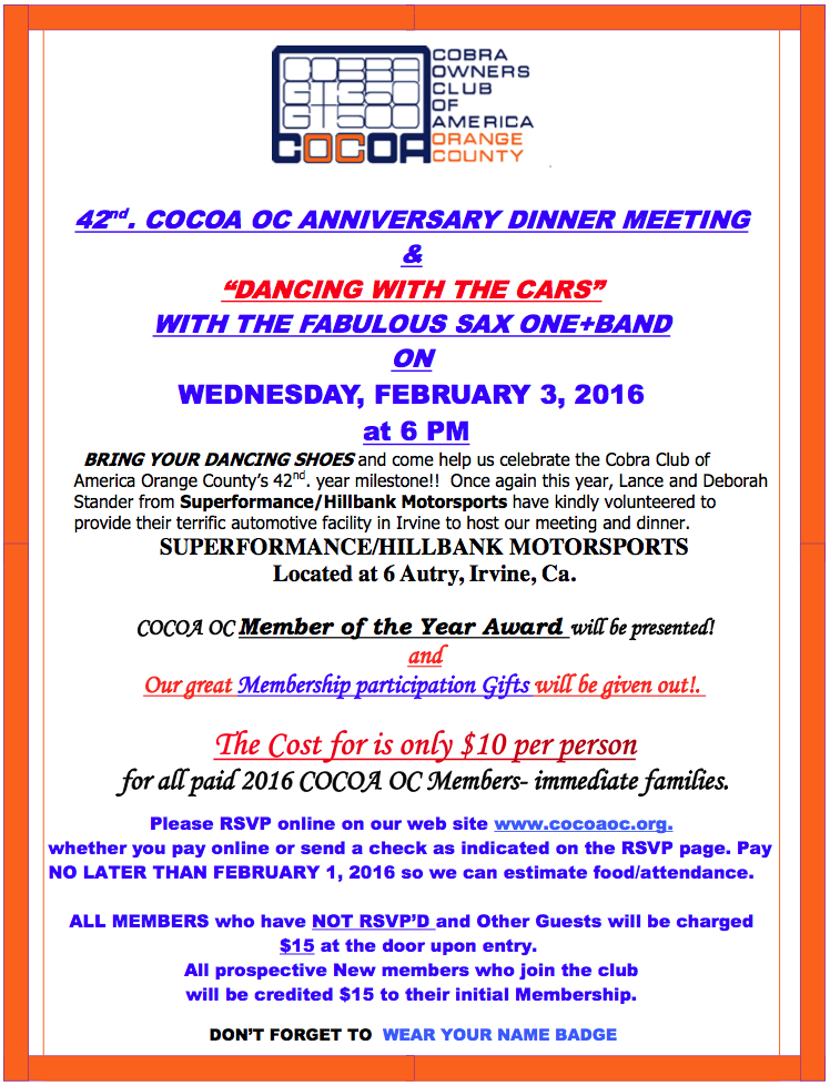 2016 COCOA OC Anniversary Party